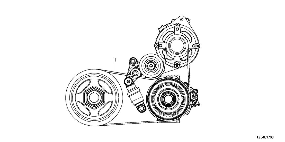 2014 acura mdx 5 door base ka 6at alternator belt