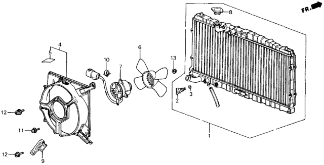 1989 Acura Legend Radiator (DENSO) Diagram