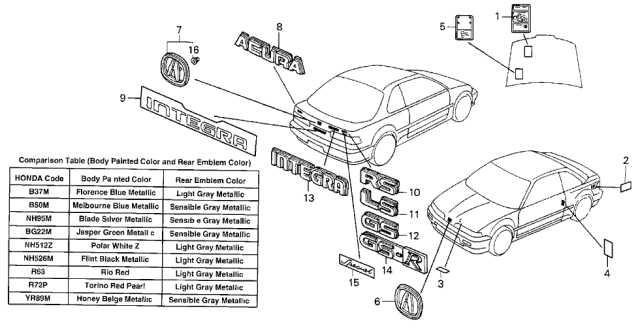 1991 Acura Integra Emblems Diagram