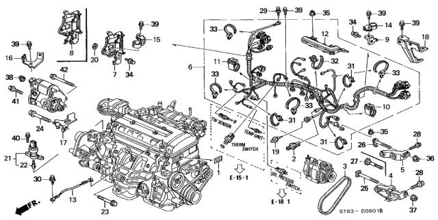 32752-P01-000 Genuine Acura Stay B, Engine Wire Harness | Acura Integra Engine Diagram |  | Acura Parts