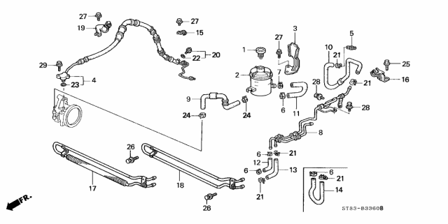 2001 Acura Integra P.S. Hoses - Pipes Diagram