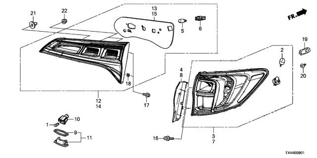 2017 Acura RDX Taillight - License Light Diagram