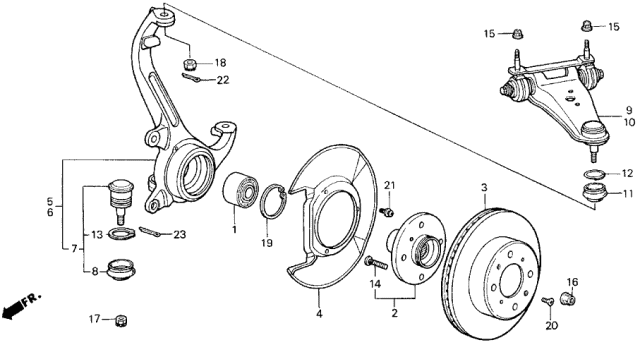 1989 Acura Legend Steering Knuckle - Brake Disk Diagram