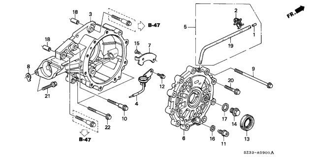 1997 Acura RL AT Differential Carrier Diagram
