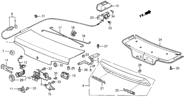 1989 Acura Legend Trunk Lid Diagram