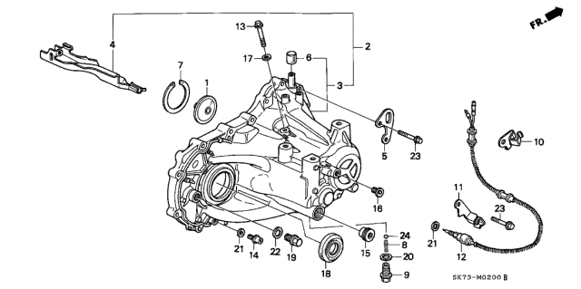 1992 Acura Integra MT Transmission Housing Diagram