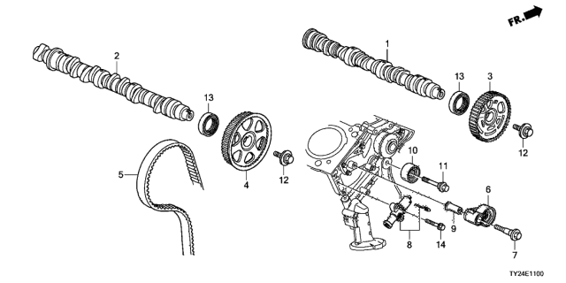 Шкив Acura RLX 2020, схема привода заднего ГРМ