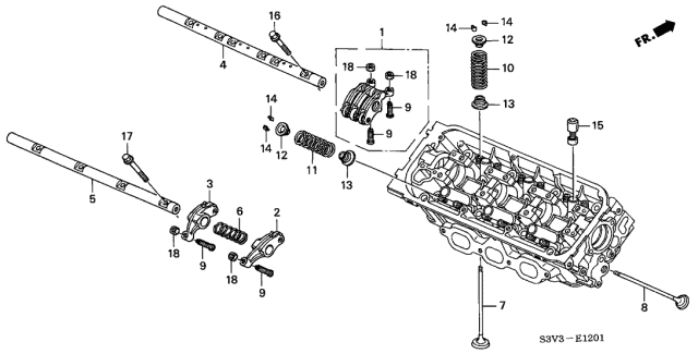 2002 Acura MDX Valve - Rocker Arm (Rear) Diagram