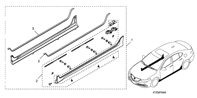 2020 Acura TLX Side Underbody Spoiler Diagram