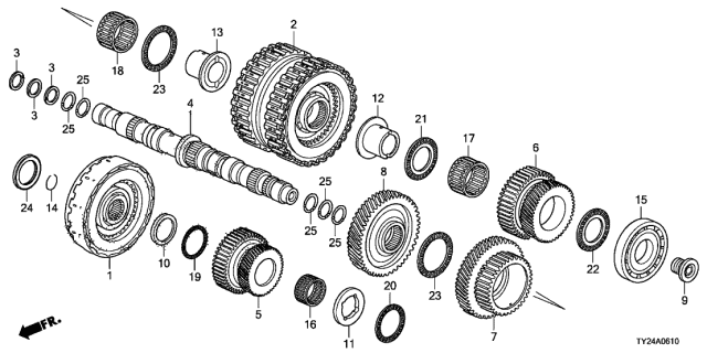 2015 Acura RLX AT Secondary Shaft - Clutch (Low/2ND-5TH) Diagram