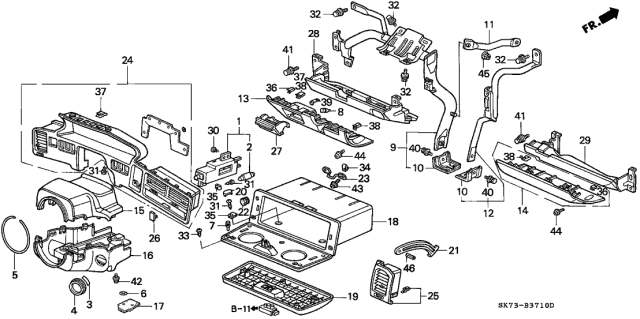 1992 Acura Integra Instrument Garnish Diagram