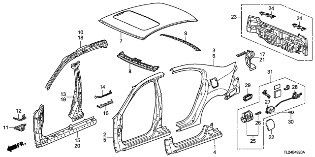2011 Acura TSX Outer Panel - Rear Panel Diagram