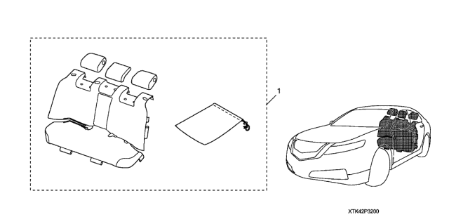 2009 Acura TL Seat Cover (Second Row) Diagram