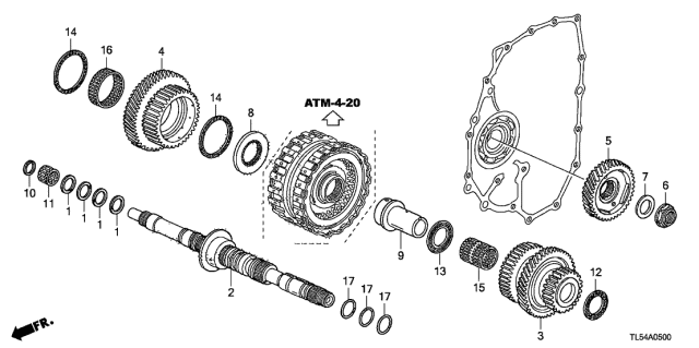 2014 Acura TSX AT Mainshaft Diagram