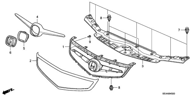 2008 Acura TSX Front Grille Diagram