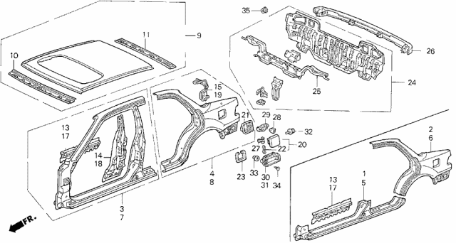 1991 Acura Integra Outer Panel Diagram