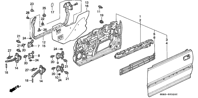 1991 Acura Integra Front Door Panels Diagram