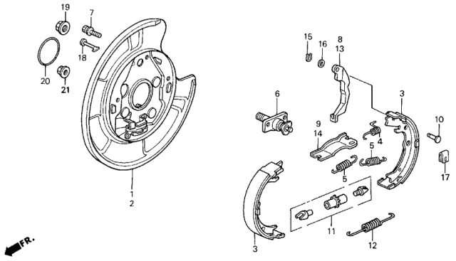 1991 Acura Legend Parking Brake Shoe Diagram