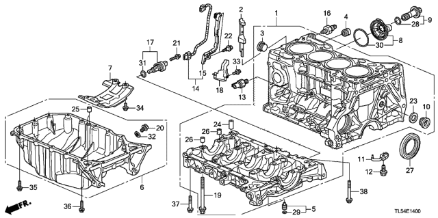 2014 Acura TSX Cylinder Block - Oil Pan Diagram