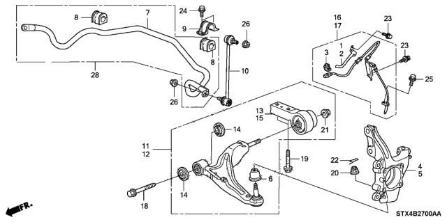 2009 Acura MDX Link Assembly, Front Stabilizer Diagram