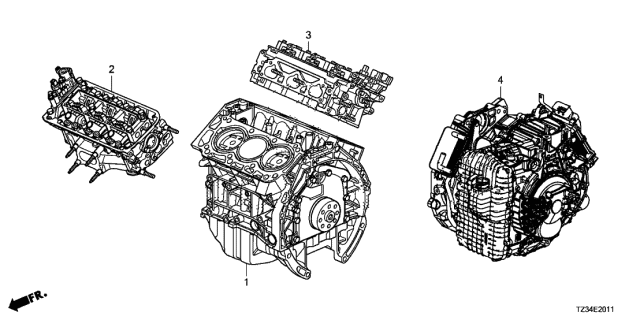 2020 Acura TLX Engine Assy. - Transmission Assy. Diagram