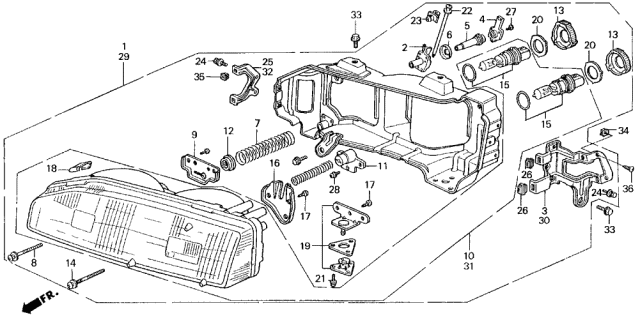 1989 Acura Legend Headlight Diagram