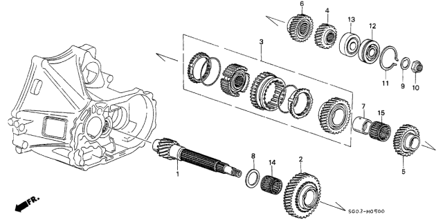 1989 Acura Legend MT Countershaft Diagram