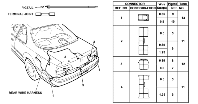 1991 Acura Legend Electrical Connector (Rear) Diagram