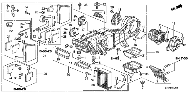2002 Acura MDX Rear Heater Unit Diagram