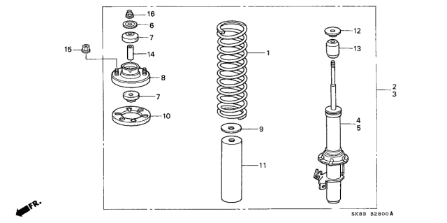 1993 Acura Integra Front Shock Absorber Diagram