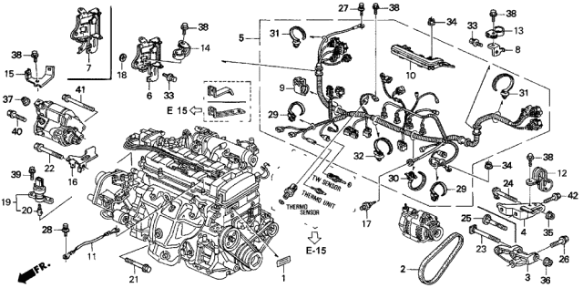 1996 Acura Integra Engine Wire Harness - Clamp Diagram