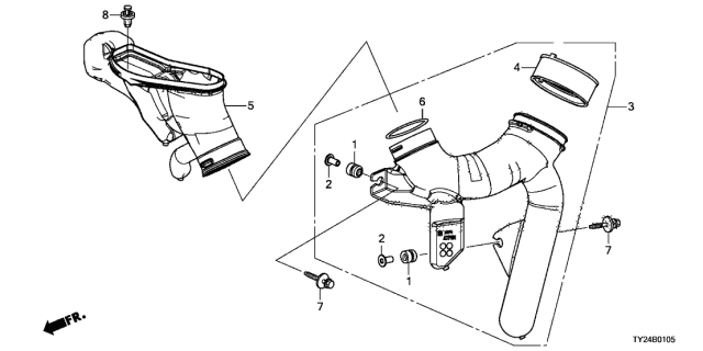 2015 Acura RLX Air Intake Tube Diagram