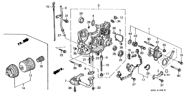 1997 Acura CL Cartridge Set, Oil Filter (Toyo Roki) Diagram