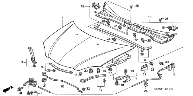 2004 Acura RSX Lock Assembly, Hood Diagram