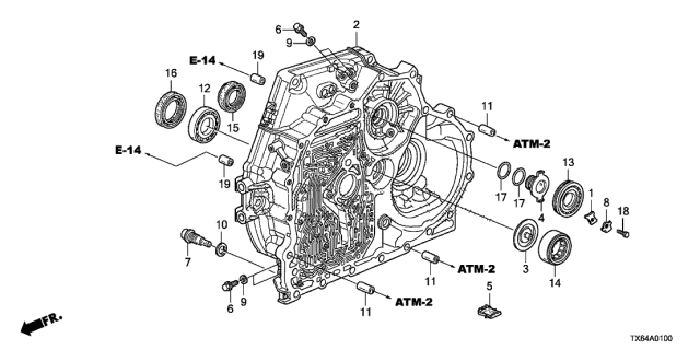 2013 Acura ILX AT Torque Converter Case Diagram
