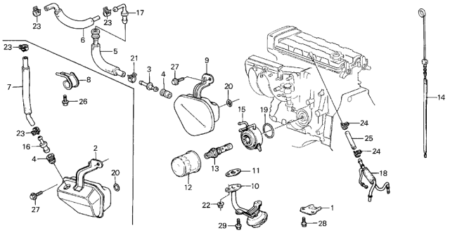 1986 Acura Integra Oil Cooler - Breather Tube Diagram