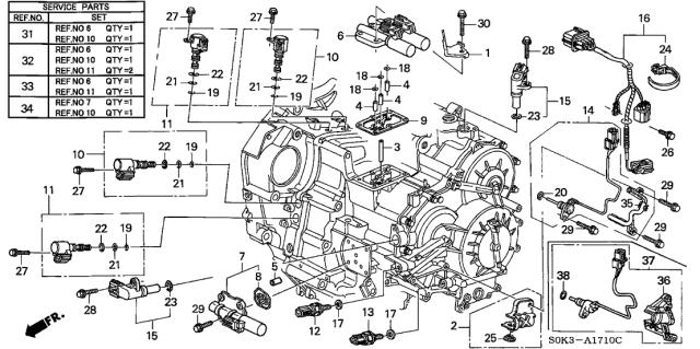 28810-P7W-004 Genuine Acura Pick-Up Assembly (Matsushita) | Acura Transmission Diagrams |  | Acura Parts