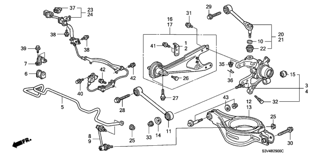 2002 Acura MDX Rear Stabilizer - Rear Lower Arm Diagram