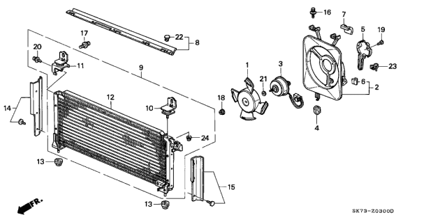 1992 Acura Integra A/C Air Conditioner (Condenser) Diagram