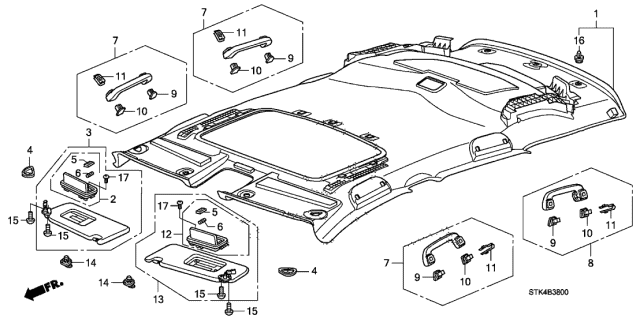 2012 Acura RDX Roof Lining Diagram