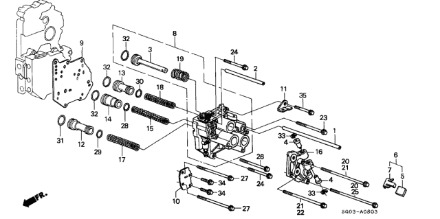 1989 Acura Legend AT Servo Body Diagram