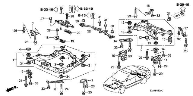 2009 Acura RL Front Sub Frame Diagram
