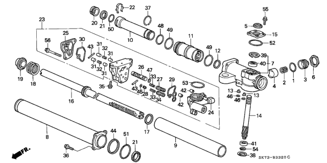 1992 Acura Integra P.S. Gear Box Components Diagram