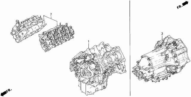 1991 Acura Legend Engine Assy. - Transmission Assy. - Differential Assy. Diagram