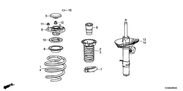 2018 Acura TLX Front Shock Absorber Diagram