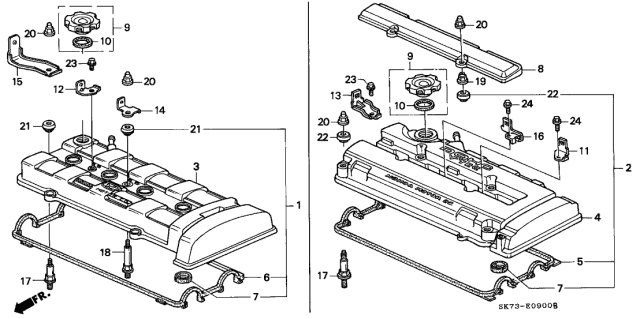 1992 Acura Integra Cylinder Head Cover Diagram