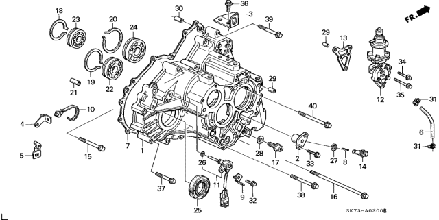 1992 Acura Integra AT Transmission Housing Diagram