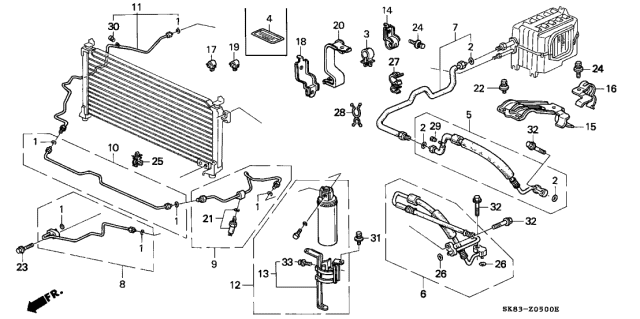 1991 Acura Integra A/C Hoses - Pipes Diagram