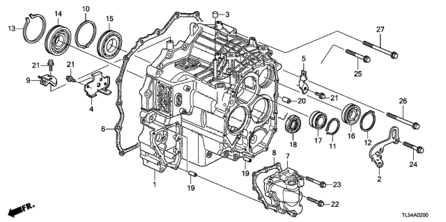 2014 Acura TSX AT Transmission Case Diagram