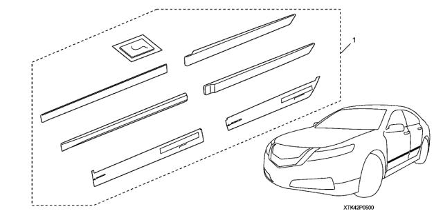 2011 Acura TL Body Side Molding Diagram